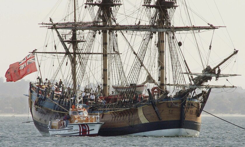 FILE - In this April 17, 2005 file photo, the Endeavour, a replica of Captain James Cook's ship of discovery, lies at anchor in Botany Bay at Sydney, Australia. Researchers believe the wreckage of the ship Cook used to explore around the world is submerged somewhere in Rhode Island's Newport Harbor. If it is the Endeavour, the ship would belong to the state of Rhode Island, because of the state's legal maneuver in maritime court nearly two decades ago based on an obscure, centuries-old maritime practice. (AP Photo/Mark Baker, File)