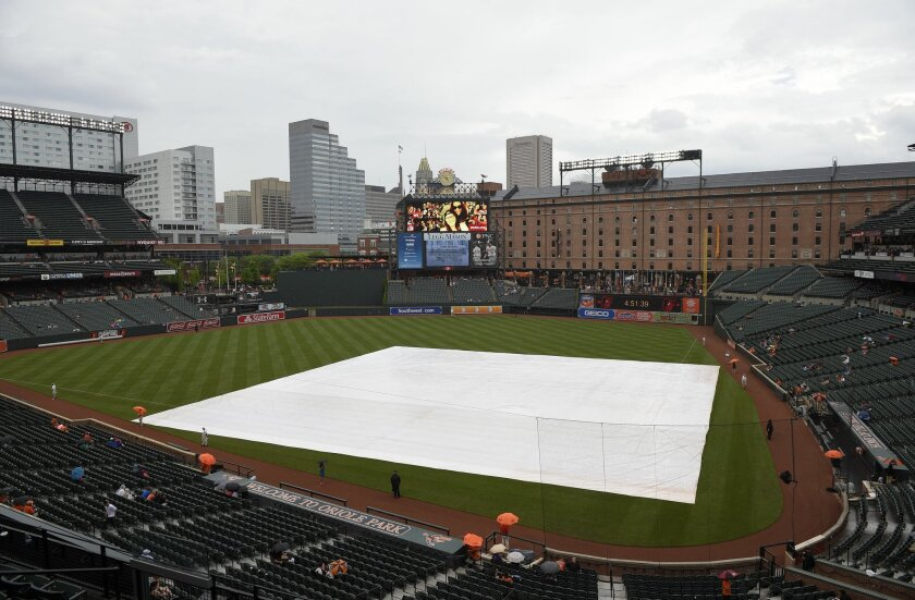 The tarp sits on the field during a rain delay before a baseball game between the Baltimore Orioles and the Houston Astros, Wednesday, May 27, 2015, in Baltimore. (AP Photo/Nick Wass)