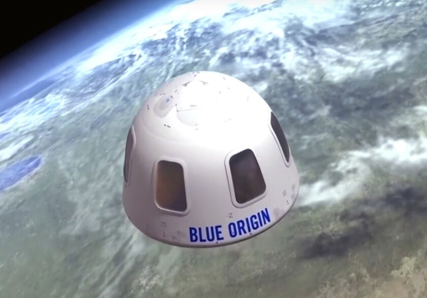 An illustration of a Blue Origin capsule that would carry tourists into space