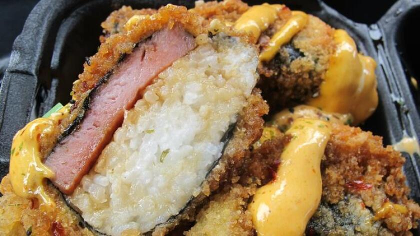 Deep fried musubi at Homestyle Hawaiian in Clairemont. (/ Amy T. Granite)