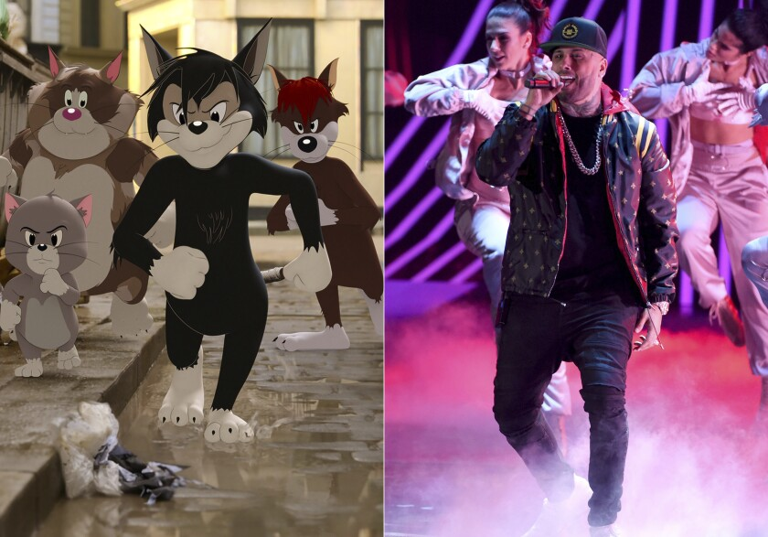"""Butch, leader of the alley cats, foreground center, voiced by Nicky Jam, appears in a scene from the animated/live-action film """"Tom & Jerry"""" and Nicky Jam performs at the 18th annual Latin Grammy Awards in Las Vegas on Nov. 16, 2017. (Warner Bros. Pictures via AP)"""