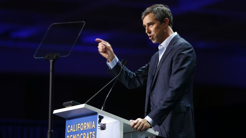 SAN FRANCISCO - JUNE 1, 2019: Beto O'Rourke addresses the California state Democratic Party conventi
