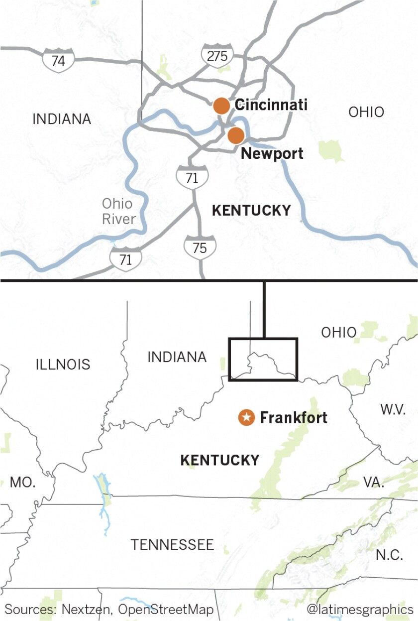 Map of Kentucky, showing the the town of Newport, capital city Frankfort, city of Cincinnati, Ohio, and the Ohio River.