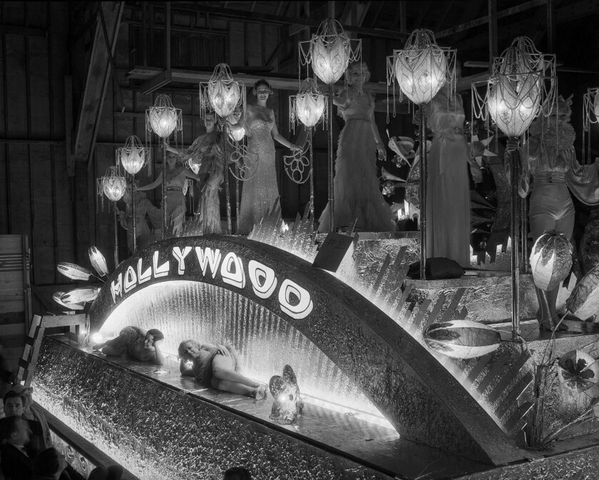"Sept. 24, 1932: ""Spirit of Hollywood"" float for the Electrical Parade and Sports Pageant in the Memorial Coliseum, a charity event produced by film studios."