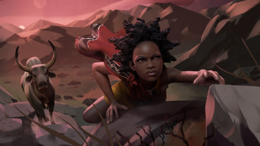"A scene from the animated documentary ""Liyana."""