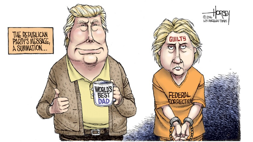 The Republican National Convention is portraying Donald Trump as a good dad and Hillary Clinton as a crook.