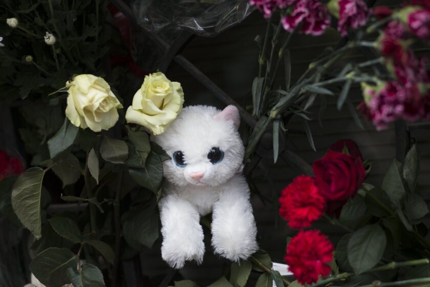 A toy and flowers lie in memory  to victims of a Metrojet plane crashed in Egypt, near the representative office of St. Petersburg in Moscow, Russia, Monday, Nov. 2, 2015. Mourners have been coming to St. Petersburg's airport and other places since Saturday with flowers, pictures of the victims, st