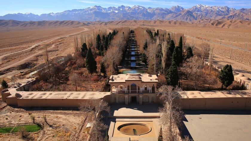 An aerial view of the qanat at Jupar, Bagh-e Shahzadeh, Iran.