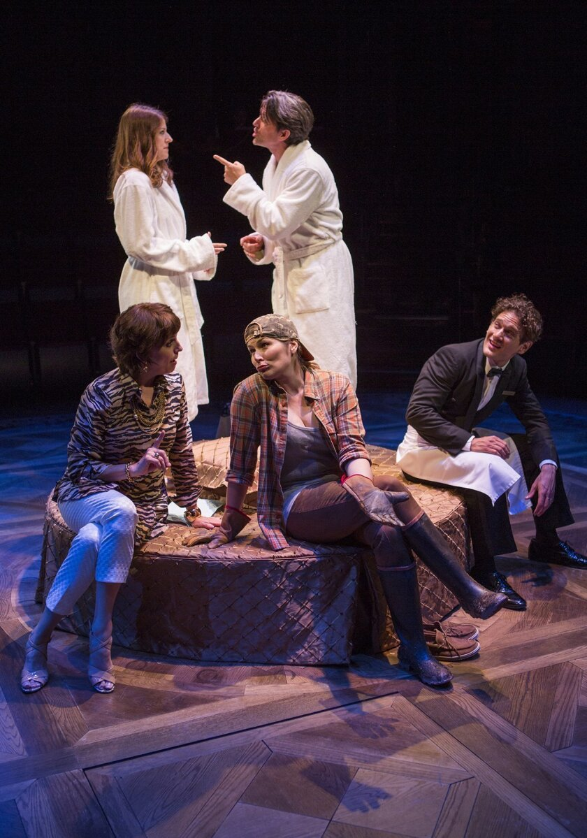 Mags (Nicole Parker), Andy (Jon Patrick Walker), and [sitting] Rhoda (Beth Leavel), Jane (Heidi Blickenstaff) and Jeff (Eric William Morris) in the world premiere of The Old Globe Theatre's 'Dog and Pony' with book by Rick Elice, music and lyrics by Michael Patrick Walker.  Jim Cox