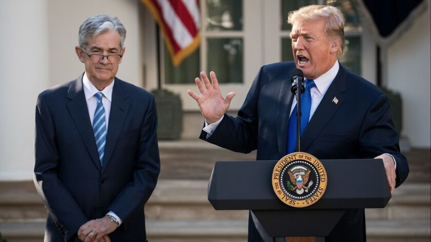 President Trump introduces his nominee for chairman of the Federal Reserve, Jerome H. Powell, during a press event in the Rose Garden at the White House in November 2017.