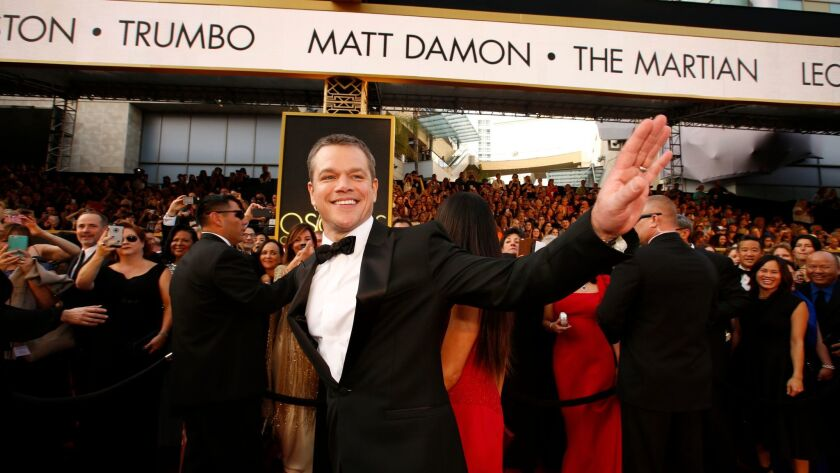 HOLLYWOOD, CA - February 28, 2016--Matt Damon during the arrivals at the 88th Academy Award