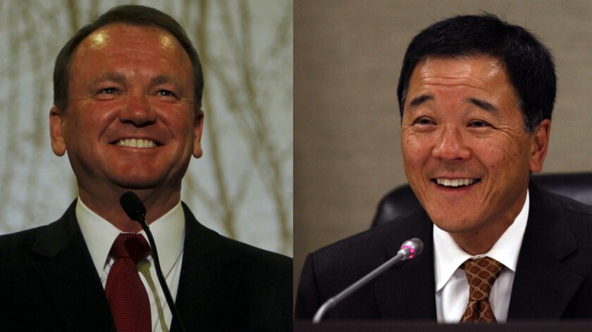 L.A. County sheriff candidates Jim McDonnell, left, and Paul Tanaka.