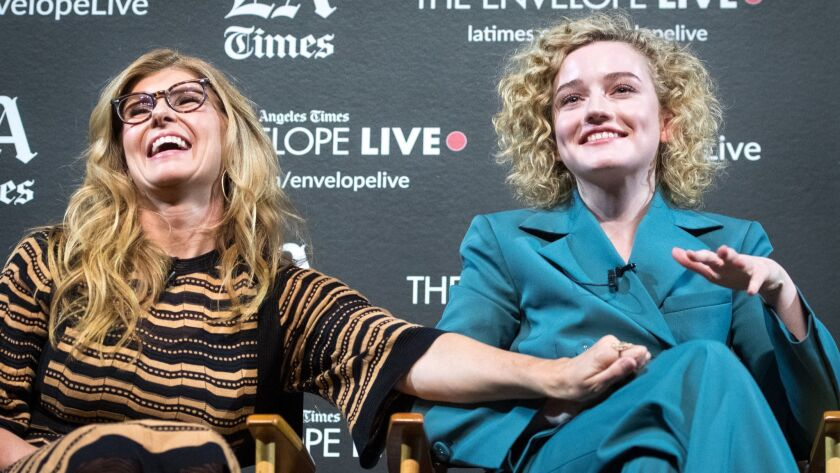 """Actors Connie Britton, left, and Julia Garner at The Times' Envelope Live screening of """"Dirty John"""" on Nov. 27."""