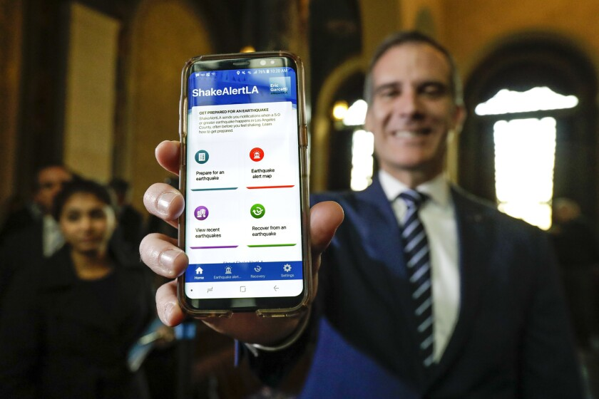 Mayor Eric Garcetti announces the launch of ShakeAlertLA in January.