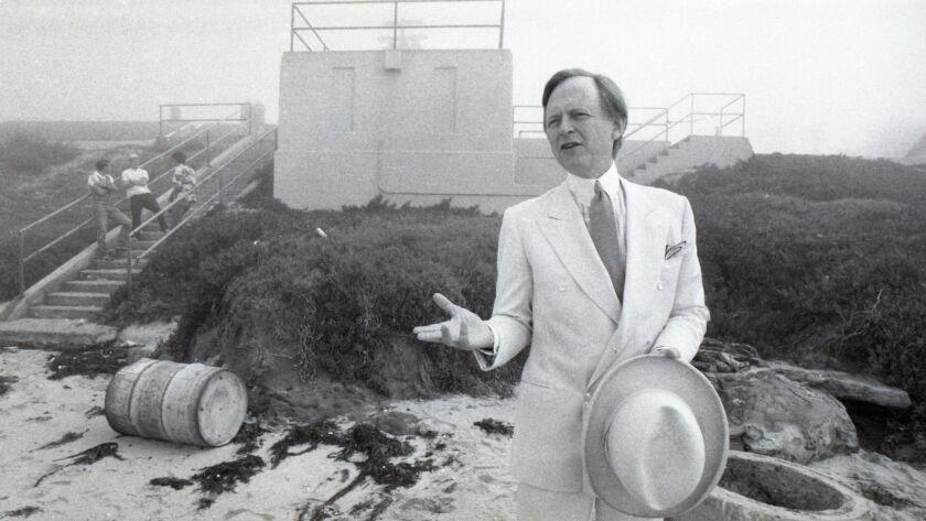 Tom Wolfe at La Jolla's Windansea pump house in 1982.