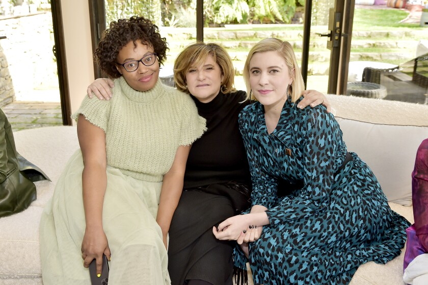 Numa Perrier, from left, Amy Pascal and Greta Gerwig attend Diane von Furstenberg and the Academy Museum of Motion Pictures' sixth Oscars luncheon.
