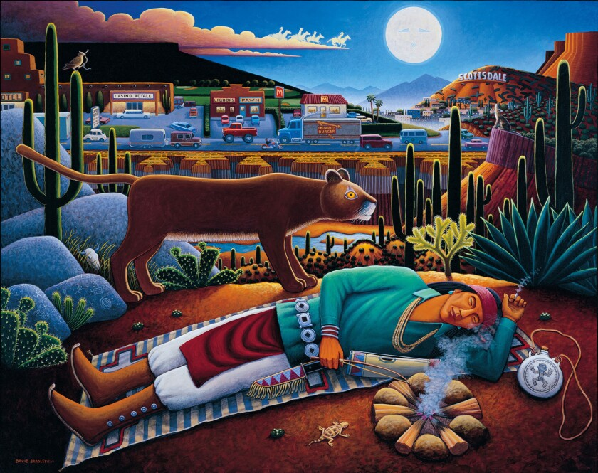 "David Bradley's 2005 piece ""To Sleep, Perchance to Dream"" is among the paintings on display in a survey of the artist's work at the Autry Museum."
