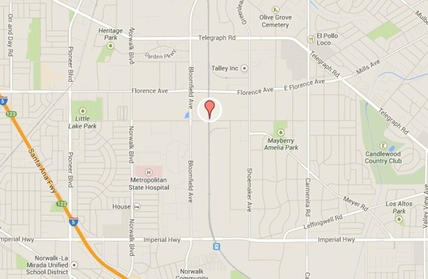 A map shows approximately where a bicyclist was struck and killed by a Metrolink commuter train Thursday.