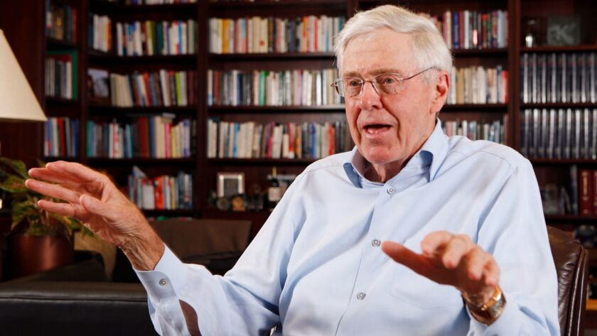 Charles Koch, along with his brother David Koch, is reportedly backing a bid by Meredith Corp. to acquire Time Inc.