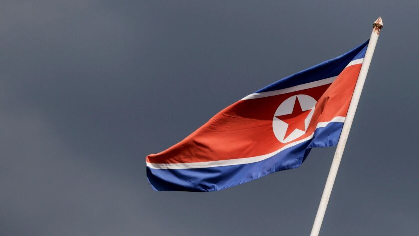 The North Korean flag flies over the country's embassy in Kuala Lumpur, Malaysia.
