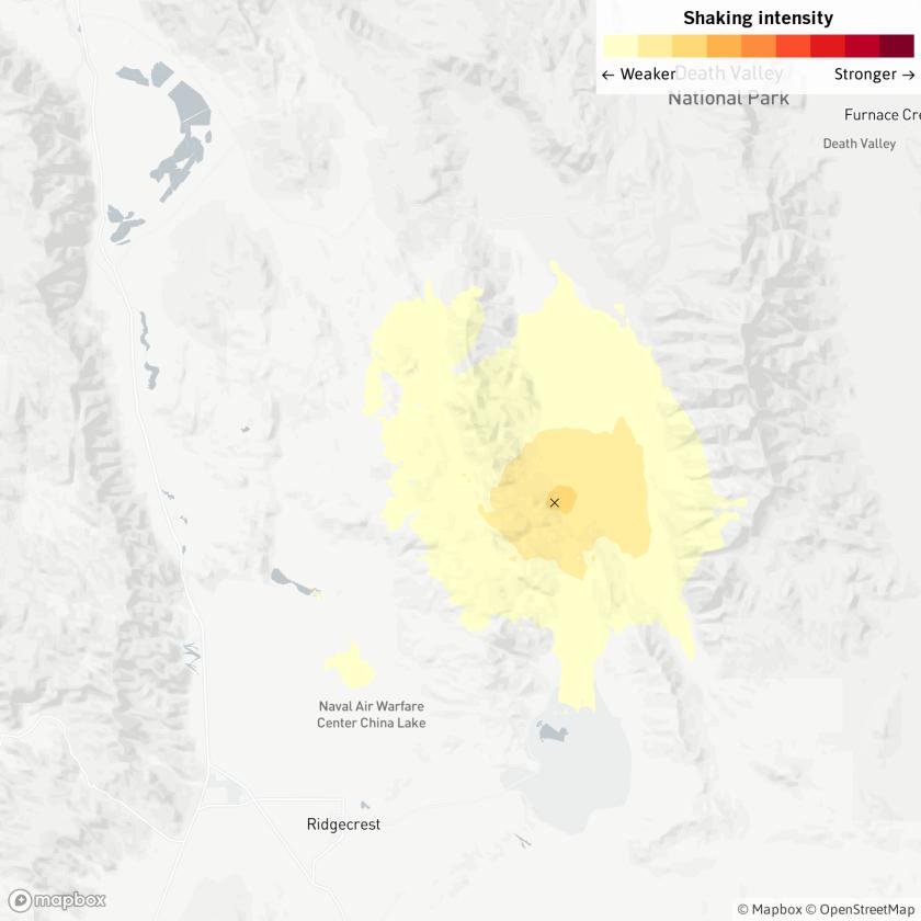 A magnitude 3.5 earthquake was felt near Ridgecrest, Calif., Saturday morning. It was followed by a magnitude 3.3 quake minutes later.