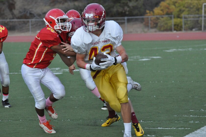Torrey Pines' Zach Friedland runs 75 yards for a touchdown. Photos by Claudia Perrone.