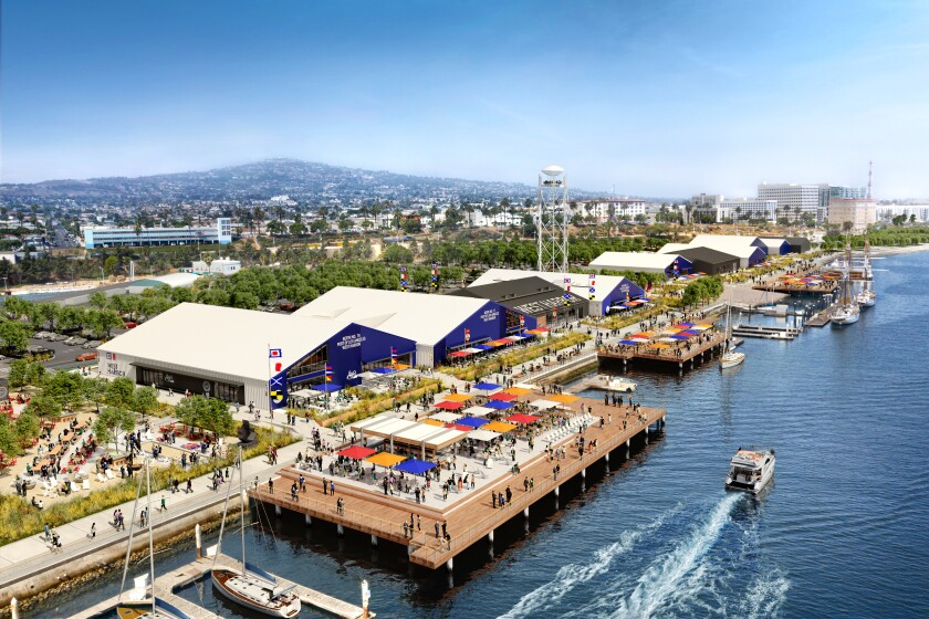 A rendering of a harbor-front dining, entertainment and shopping complex