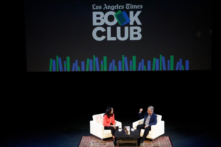 Times reporter Teresa Watanable interviews George Takei onstage.