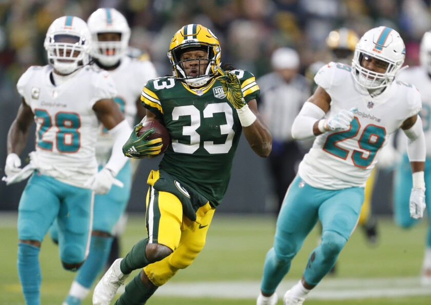 In two seasons, Green Bay Packers' running back Aaron Jones compiled 1,404 total yards, 13 total touchdowns and 35 receptions over 12 starts. If he remains healthy, this is an example of his ceiling.