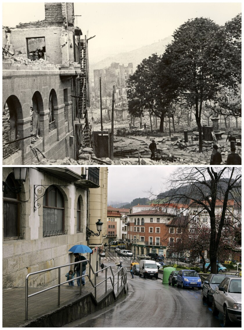 ** TO GO WITH STORY SLUGGED GUERNICA ANIVERSARIO ** This composite photo shows the destroyed cente