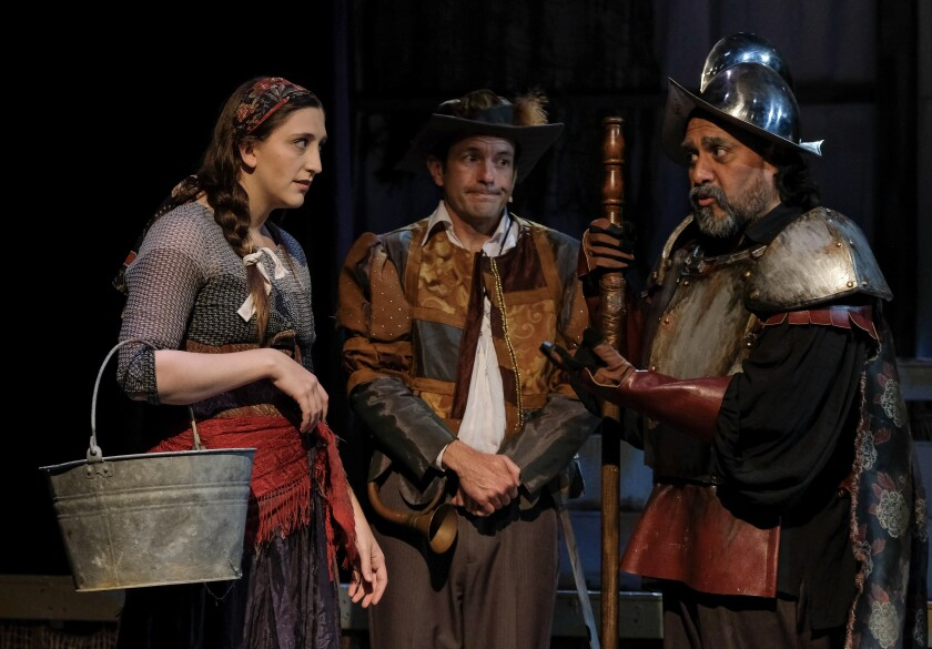 "Tara Sampson, Steve Lawrence and Rudy Martinez (from left) in Oceanside Theatre Co.'s ""Man of La Mancha."""