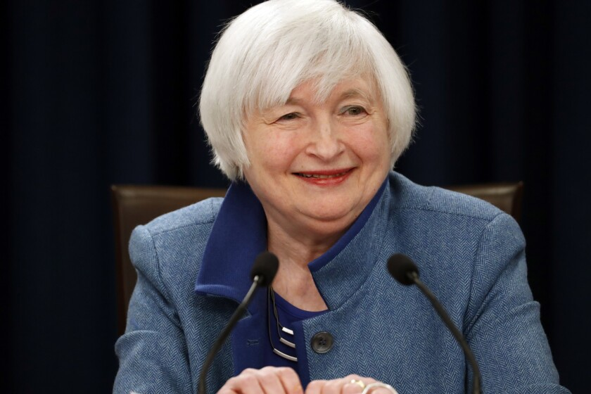 Federal Reserve Chairwoman Janet L. Yellen smiles during a news conference Dec. 14 in Washington.