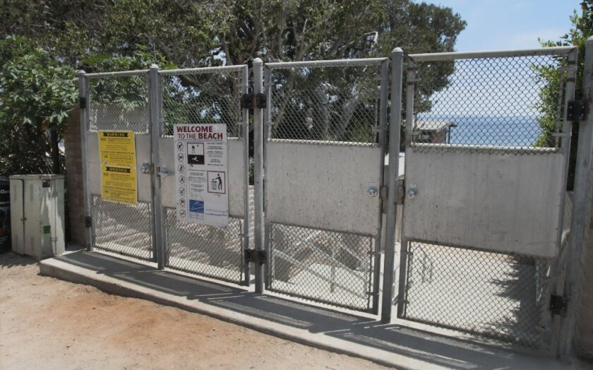 One of the three public beach access ways on Broad Beach Road in Malibu. Lawmakers have given the California Coastal Commission the authority to impose fines on those who block public access to the beach.