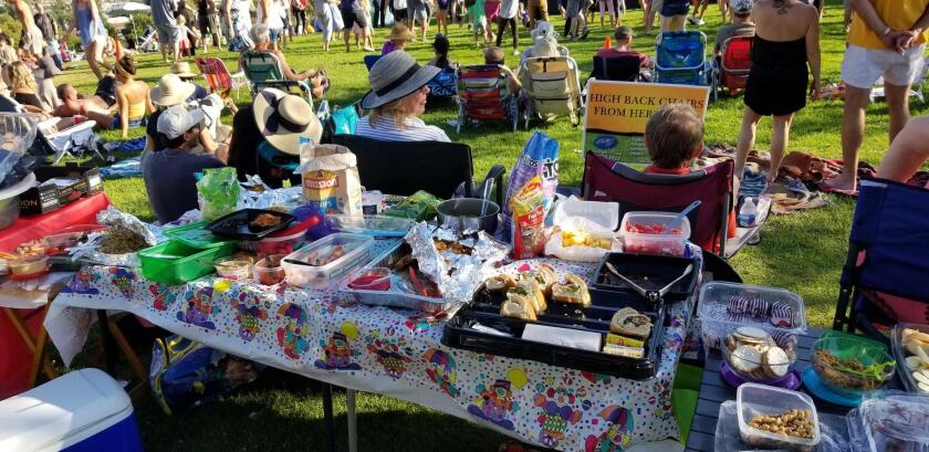 Concert guests are welcome to bring their own food and snacks. This group has a full spread!