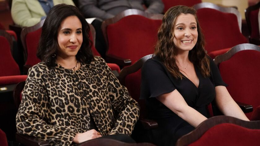 """Gabrielle Ruiz, left, and Rachel Bloom in a new episode of the musical comedy """"Crazy Ex-Girlfriend"""" on the CW."""