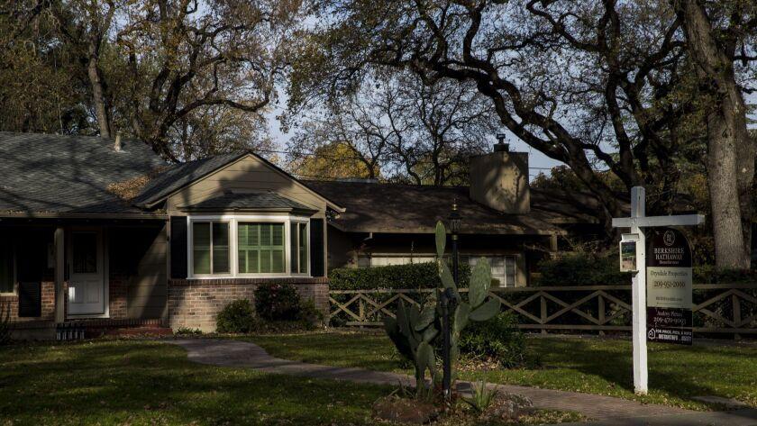 STOCKTON, CA - DECEMBER 19: A home for sale, on December 19, 2017 in Stockton, California. (Kent Ni