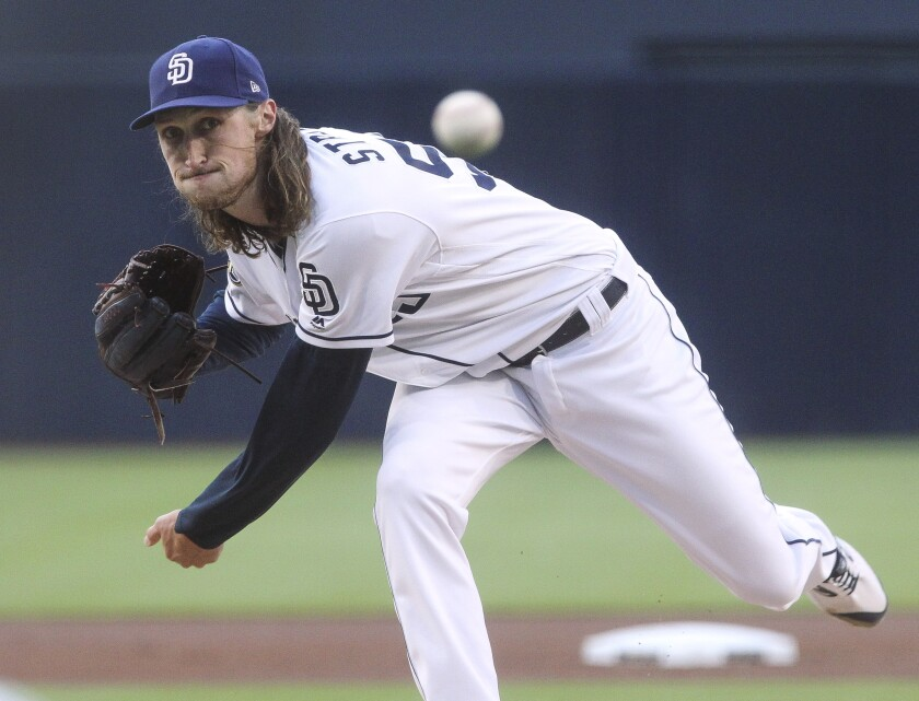 The Padres' Matt Strahm pitches to the the Giants' in the first inning at Petco Park on Tuesday, July 2, 2019 in San Diego, California.