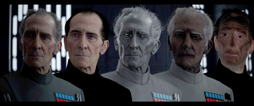"From right to left, this visual effects progression from ""Rogue One: A Star Wars Story"" shows the process of turning actor Guy Henry into the late Peter Cushing's Grand Moff Tarkin."
