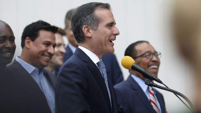 LOS ANGELES, CA SEPTEMBER 5, 2018: Los Angeles Mayor Eric Garcetti speaks during a press conferenc