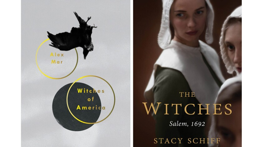 """Author Alex Mar's """"Witches of America,"""" left, and Stacy Schiff's """"The Witches."""""""
