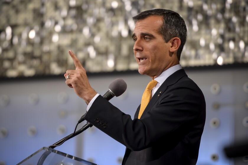 Los Angeles mayor Eric Garcetti delivers his first State of the City address before a crowd at the California Science Center.