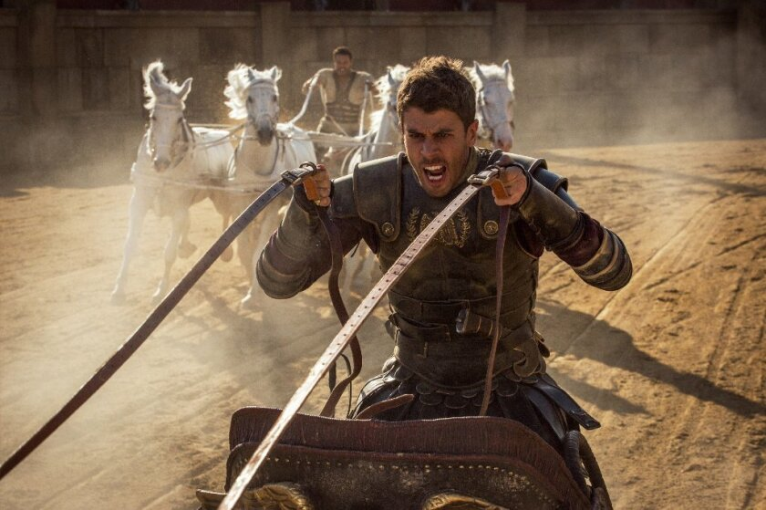 "Toby Kebbell, foreground, is Messala Severus and Jack Huston plays Judah Ben-Hur in ""Ben-Hur."""