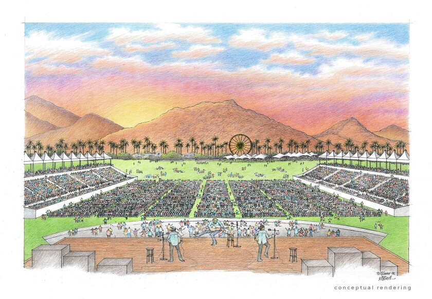 """Conceptual rendering of the stage/seating layout for """"Desert Trip."""""""