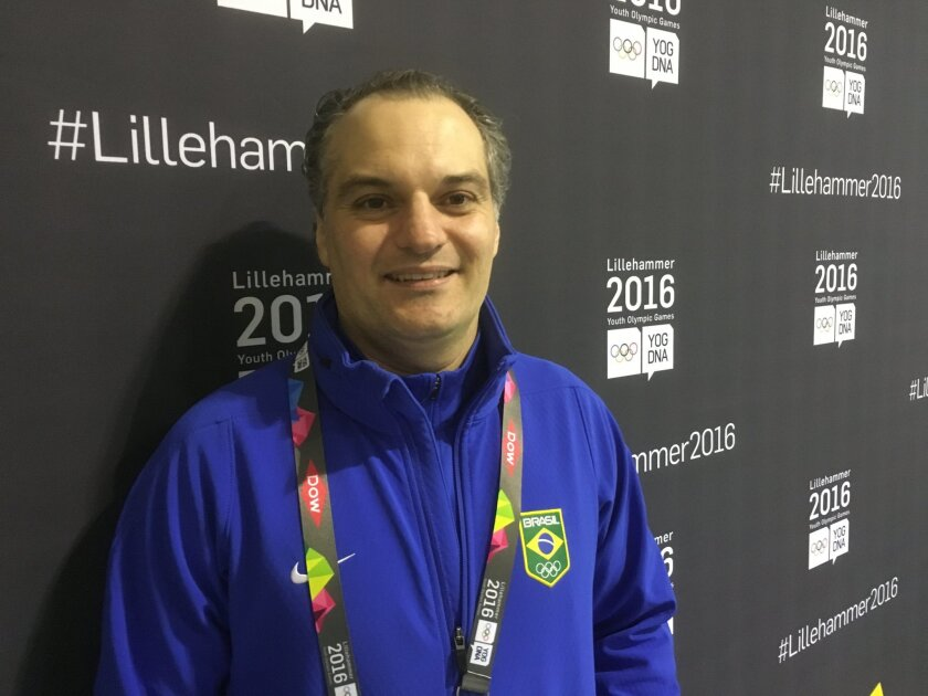 Marcelo Mello, the Brazilian curling team coach, poses in Lillehammer, Norway, Saturday Feb. 13, 2016. The Olympics often produce surprises and at the second Winter Youth Games in Lillehammer, one name that stands out in the curling competition is Brazil. Surprising because in a country studded wit