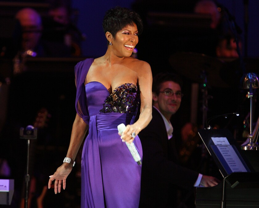 Singer Natalie Cole performs at the Hollywood Bowl on Sept. 9, 2009. The original concert was postponed while she went through a kidney transplant in July of that year.