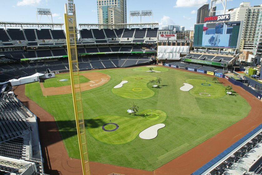 The view from the tee of the1st hole at The Links at Petco Park, a nine hole golf course constructed throughout the stadium.