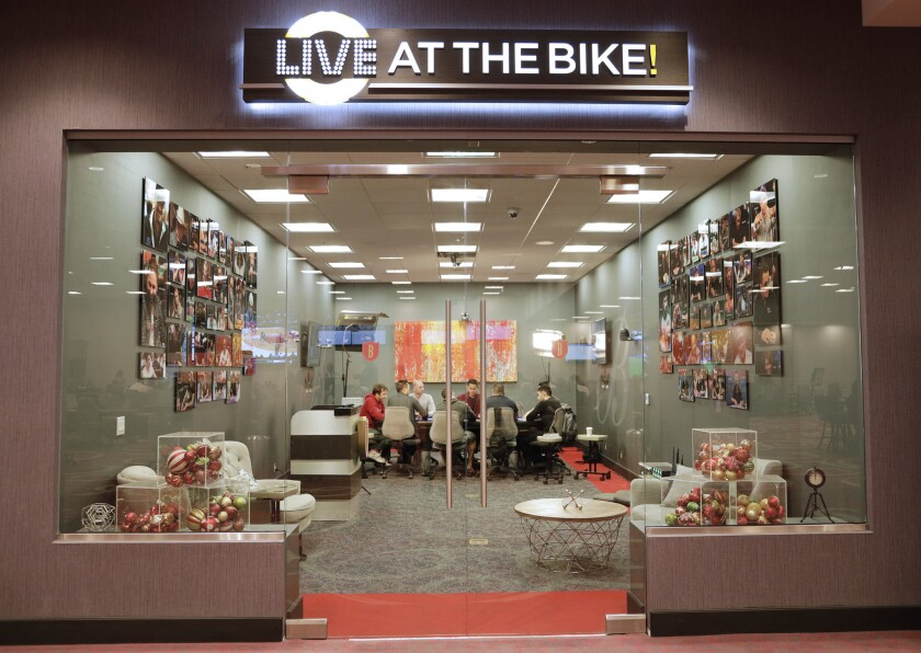 """BELL GARDENS, CA -- DECEMBER 14, 2018: """"Live at the Bike"""" poker tournament is live streamed from The"""