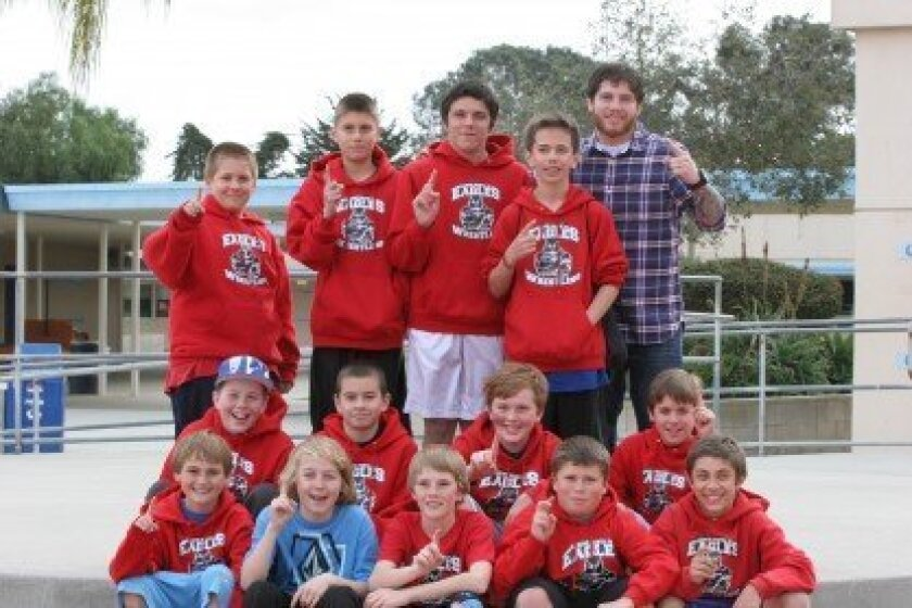 1st row sitting (from left): Nick Previti, Julian Shearer, Stetson Conner, Alex Brown, Nick Persico; 2nd row sitting (from left): Seth Rossier, David Seidel, Aidan McGeehan, Jacob Richardson; 3rd row standing (from left): Lucas Swortwood, Conrad Delgado, Daniel Burns, Paul Gauvreau, Coach Ryan Bixler