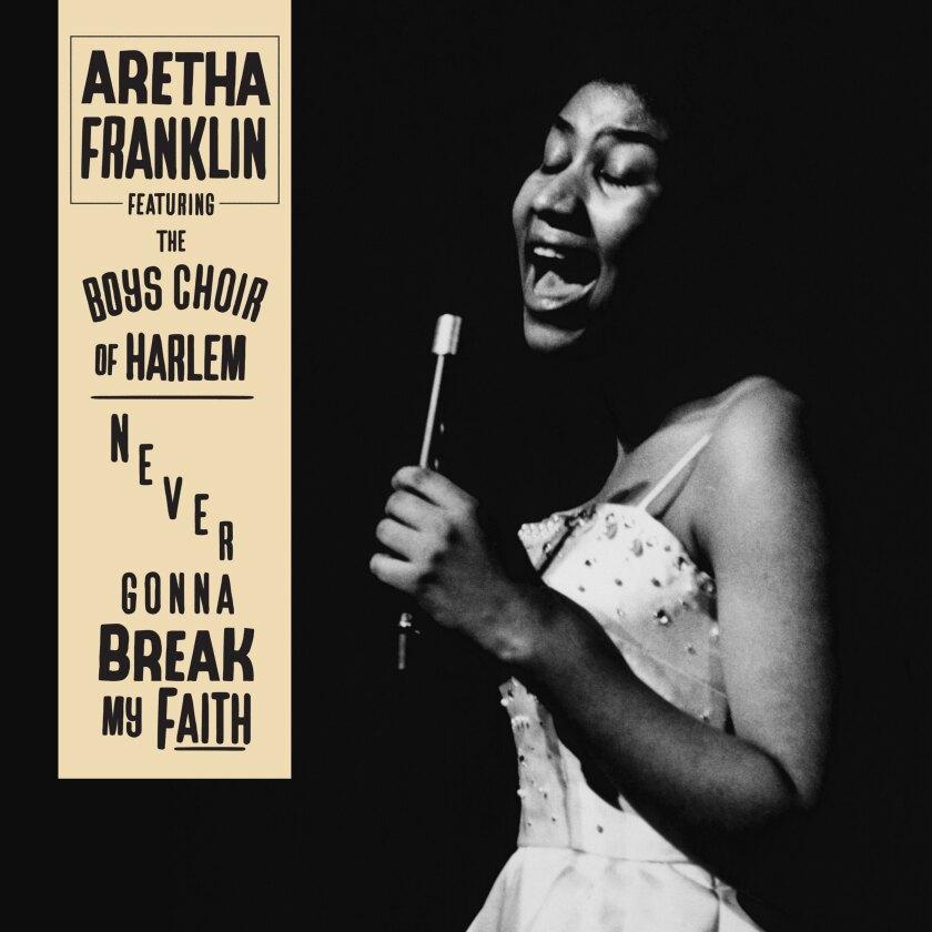 "la portada del sencillo ""Never Gonna Break My Faith"" de Aretha Franklin."