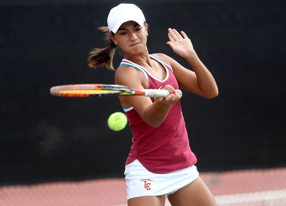 Photo Gallery: La Canada High girls tennis vs. South Pasadena